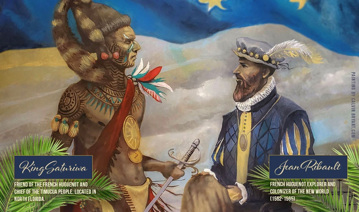 Jean-Ribault-and-Timucua-King-Saturiwa meeting in Florida 1562