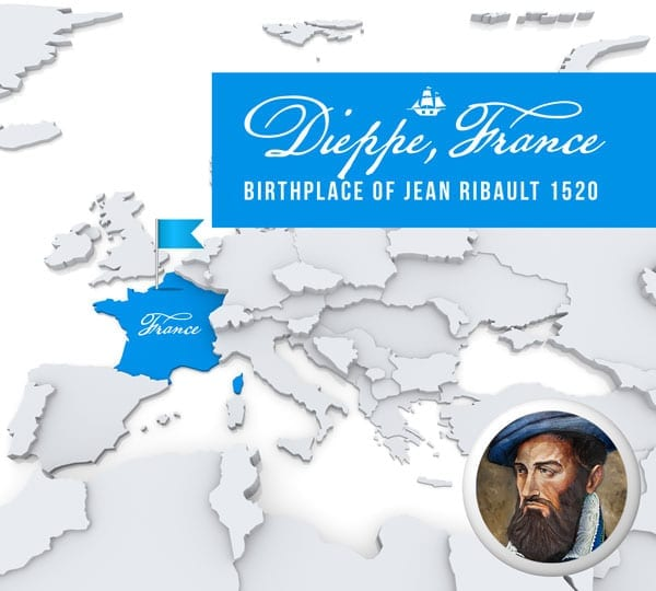 Dieppe, France the birthplace of French Huguenot Explorer Jean Ribault